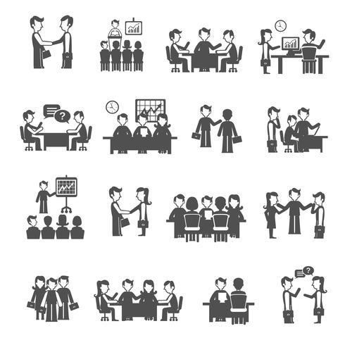 Set di icone di riunione nera
