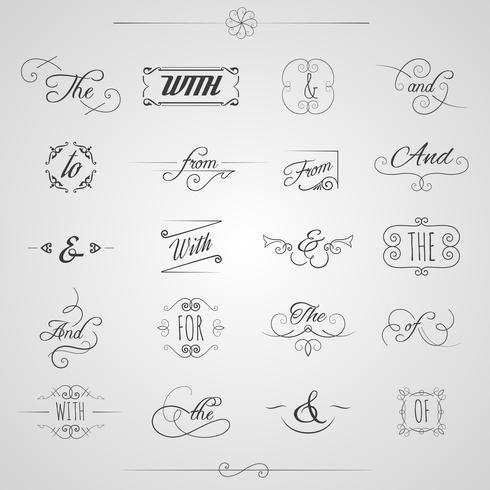 Catchwords Decorative Set vector
