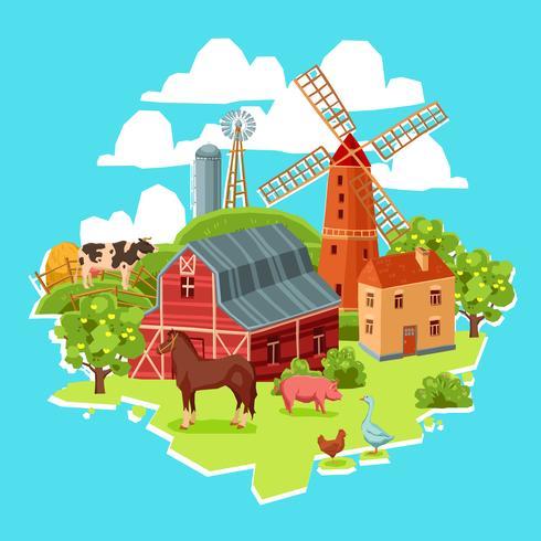 Concepto de granja multicolor vector