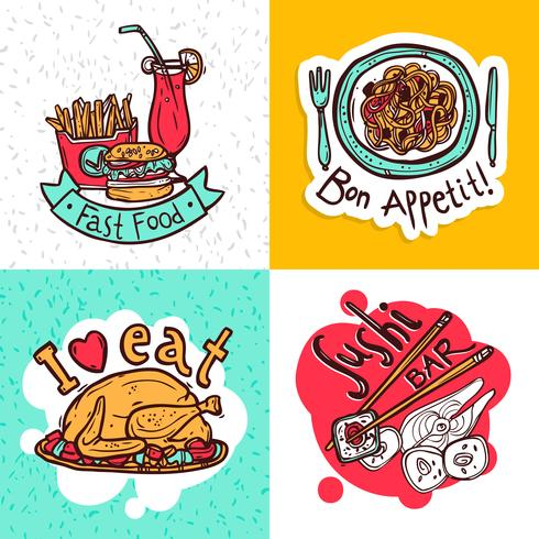 Restaurant concept icons composition design
