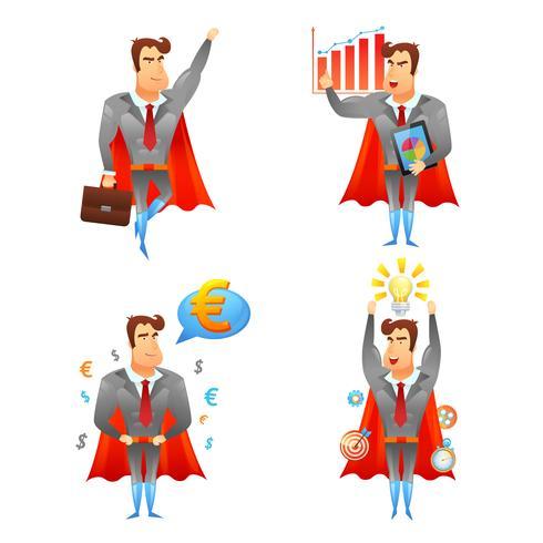 Conjunto de iconos de personaje de empresarios de superhéroes