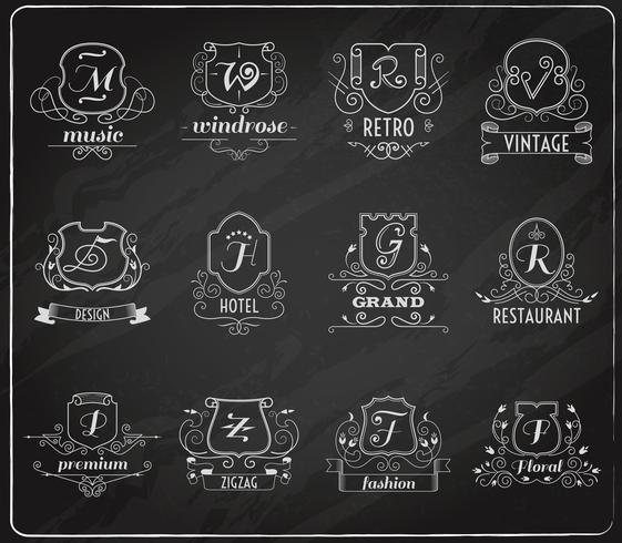 Monogram shields chalkboard set vector
