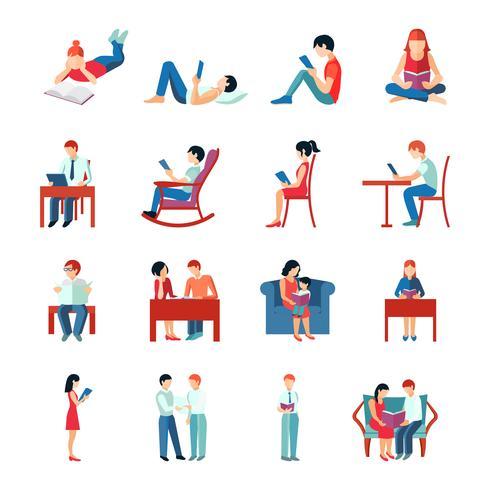 Conjunto de personas leyendo