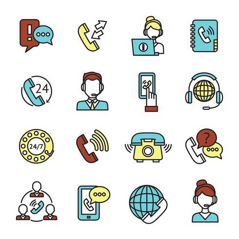 Conjunto de iconos de Call Center vector