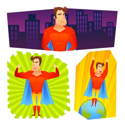 Superhero posters banners set