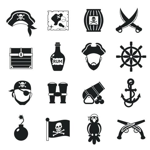 Pirate icons set black vector