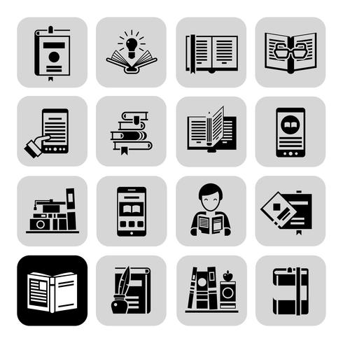 Books Icons Black Set vector