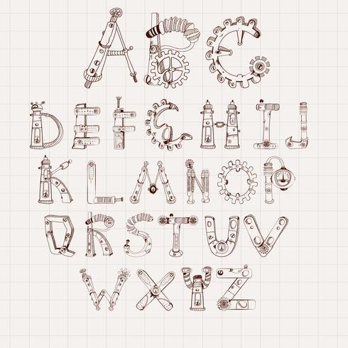 Mechanical Alphabet Set vector