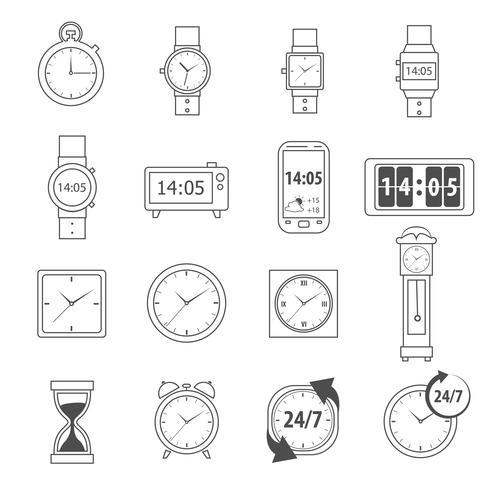 Profilo delle icone del tempo vettore