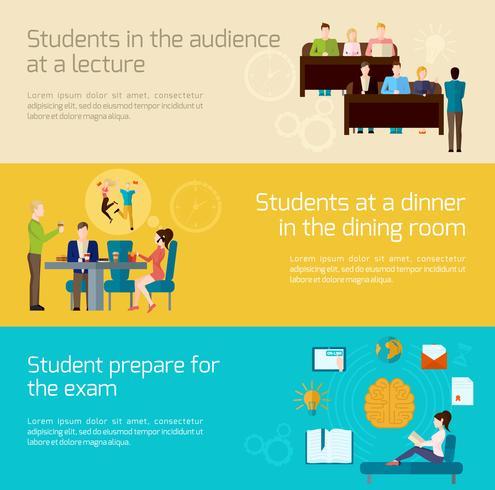 Students Banner Set vector