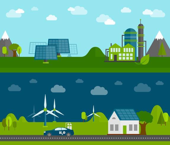Eco energy flat banners set vector