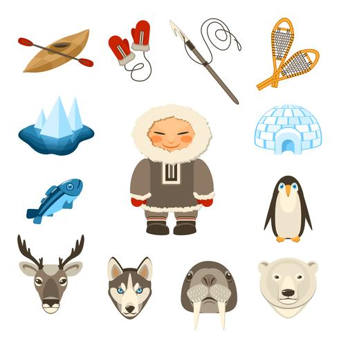 Chukchi Icons Set vector