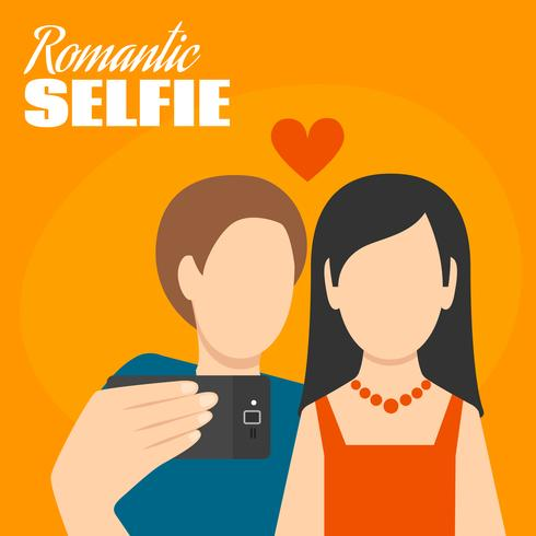 Poster romantico selfie vettore
