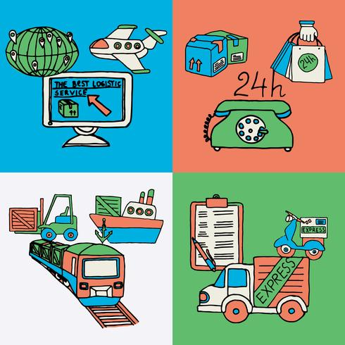 Iconos planos del concepto de diseño logístico