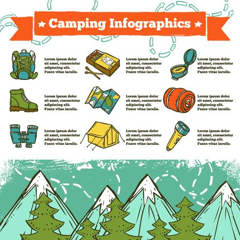 Camping Infographics schets vector