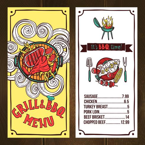 Grill Menu Sketch vector
