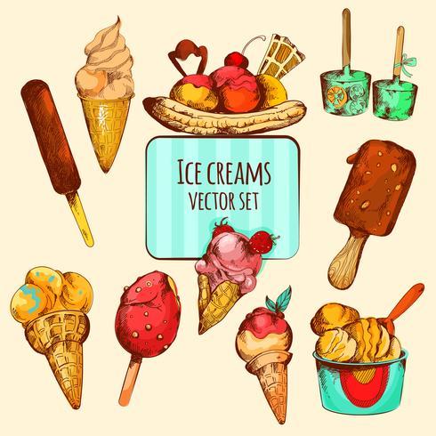Ice Cream Sketch Colored vector