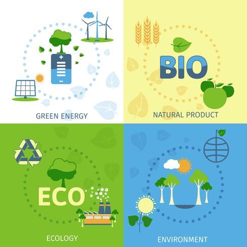 Ecología 4 composición de iconos planos vector