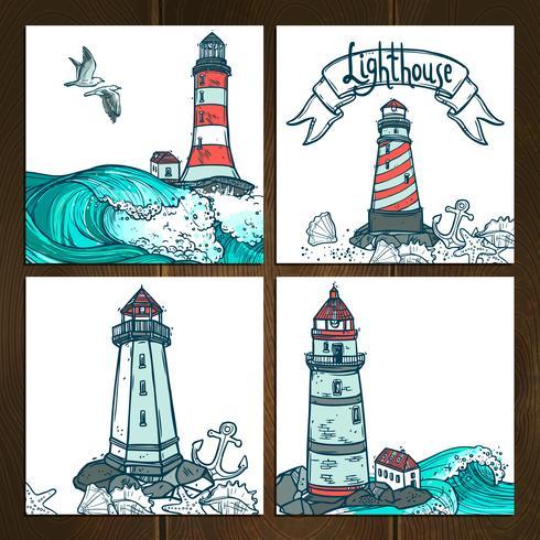 Lighthouse Cards Set vector