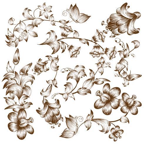 Éléments de fleur design vintage