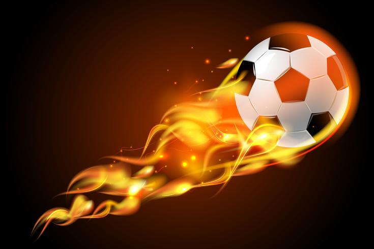 Soccer ball fire on black background vector