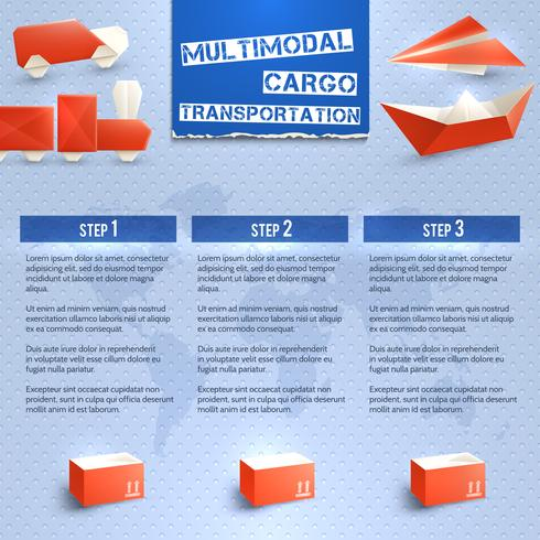 Origami Logistic Infographics vector
