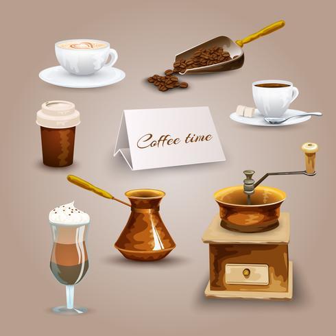 Kaffe ikoner Set vektor