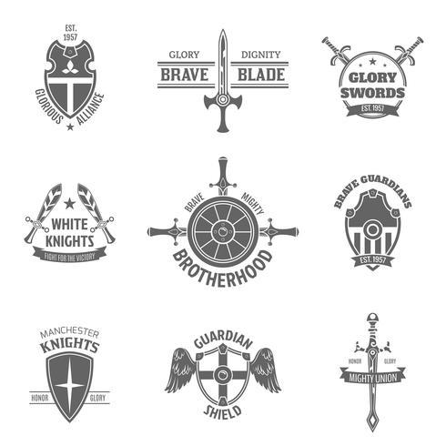 Heraldische wapenschildetiketten die worden geplaatst