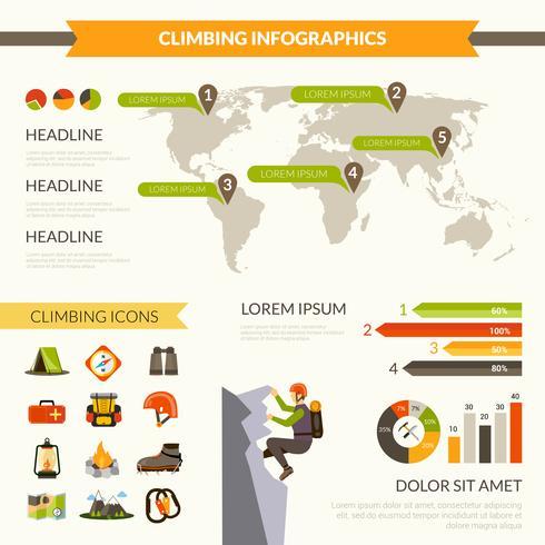 Klättring Infographics Set vektor