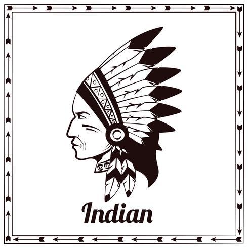 Bosquejo negro indio americano cacique