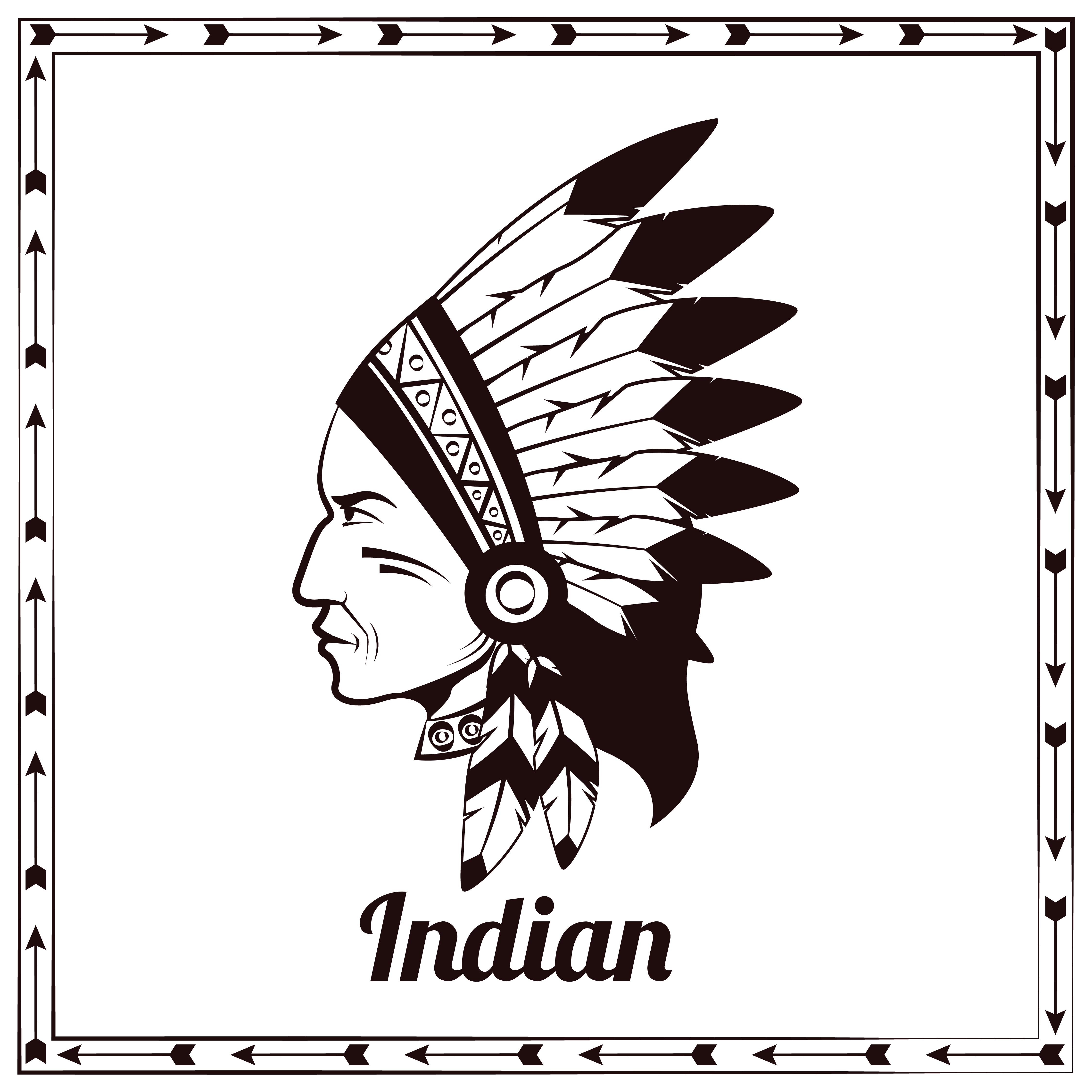 Esboco Preto Do Chefe Indio Americano Download Vetores Gratis