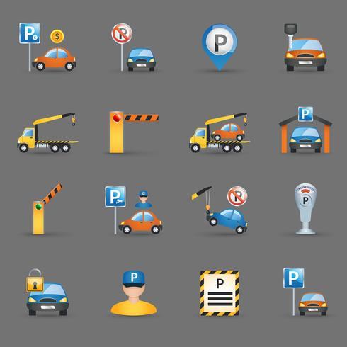 Instalaciones de aparcamiento iconos planos de fondo de grafito vector