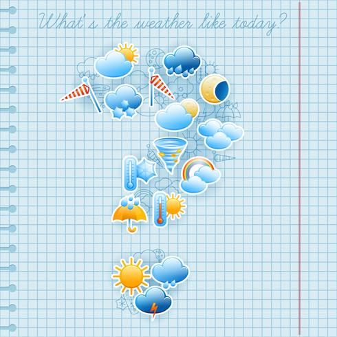 School notebook page weather forecast concept vector