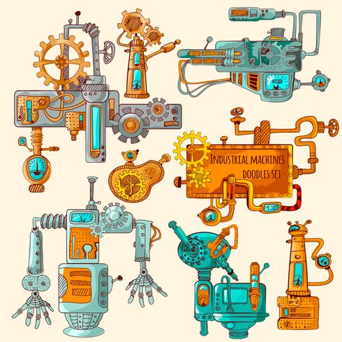 Industriële Machines Doodles Colored