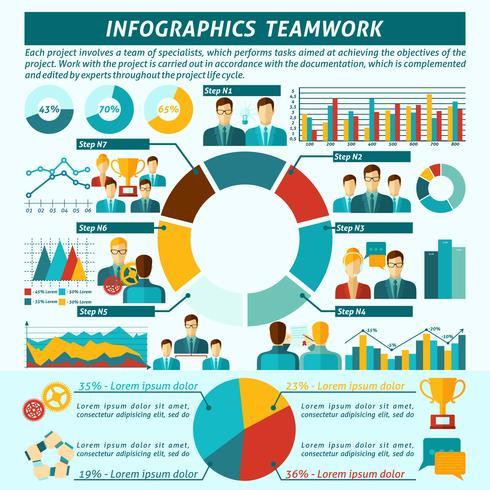Conjunto de infografías de trabajo en equipo vector