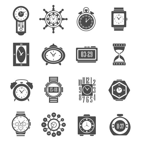 Clock Black Icons Set