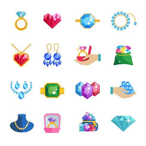 Preciosas joyas iconos planos