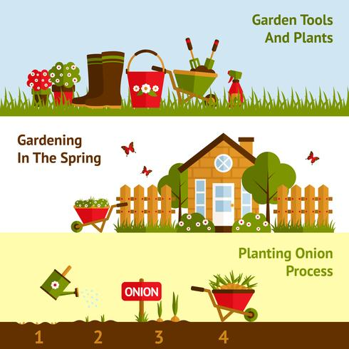 Conjunto de Banners de jardinería