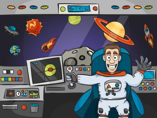 Astronaute dans le vaisseau spatial vecteur
