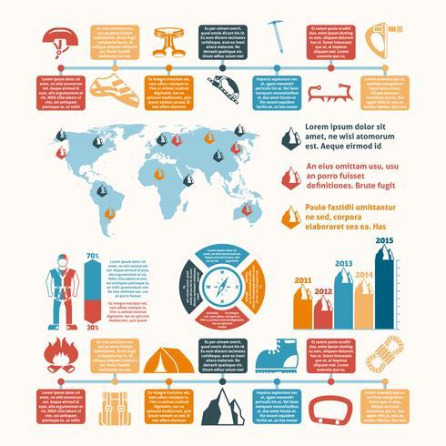 Equipamento de alpinista apresentação inforgraphic