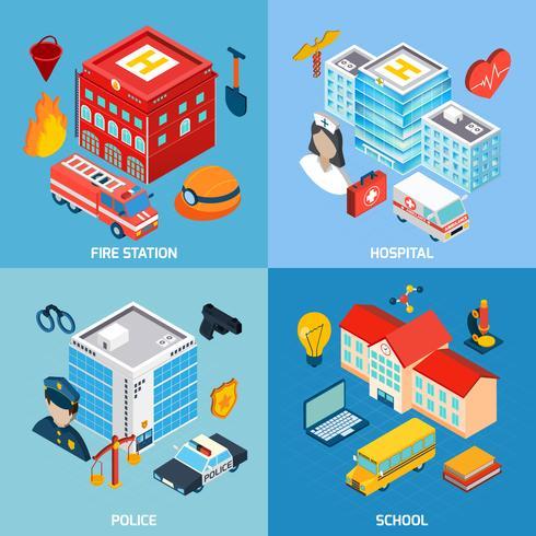 Municipal Buildings Set vector