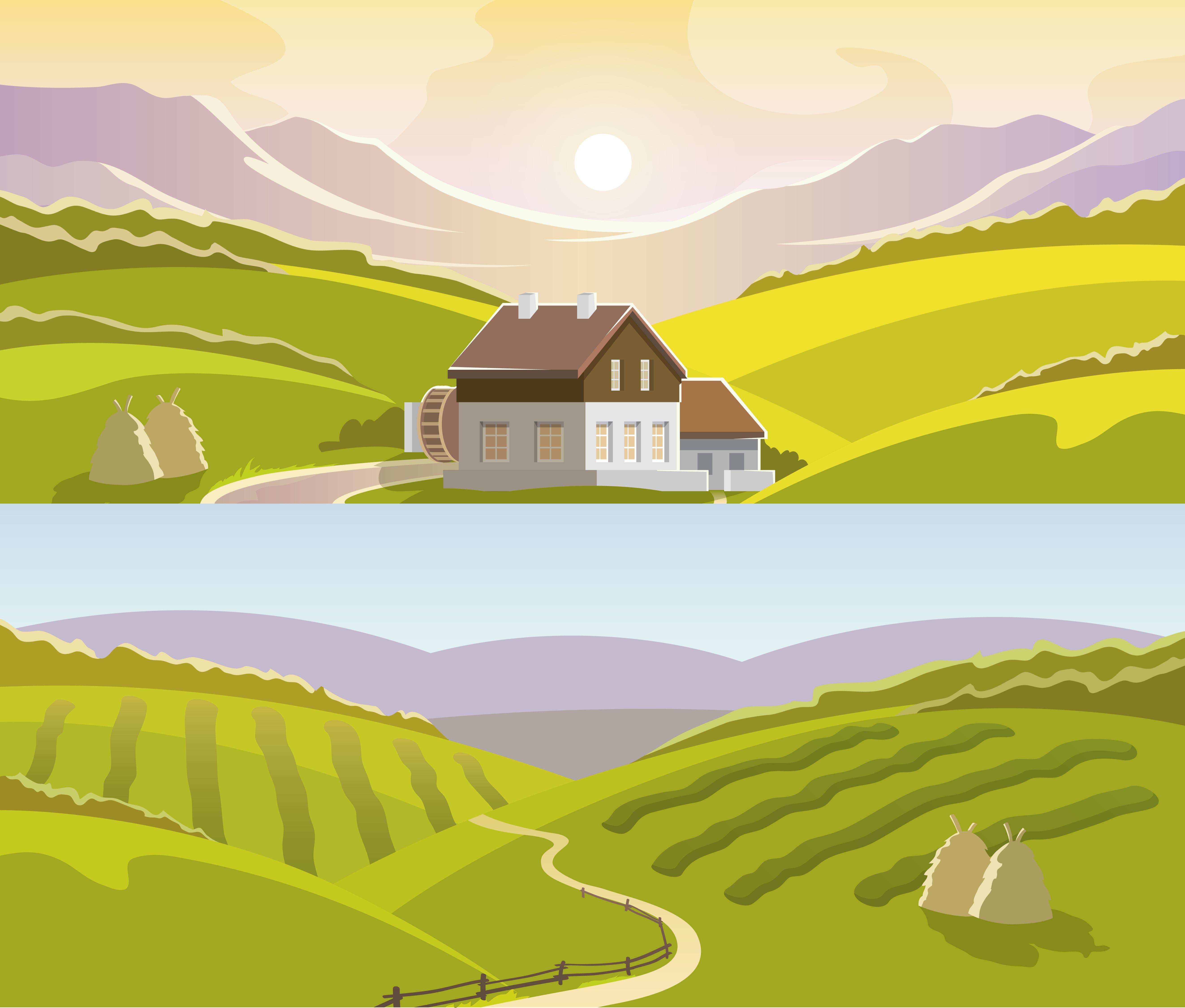Town Landscape Vector Illustration: Mountain Landscape Banner Set Vector