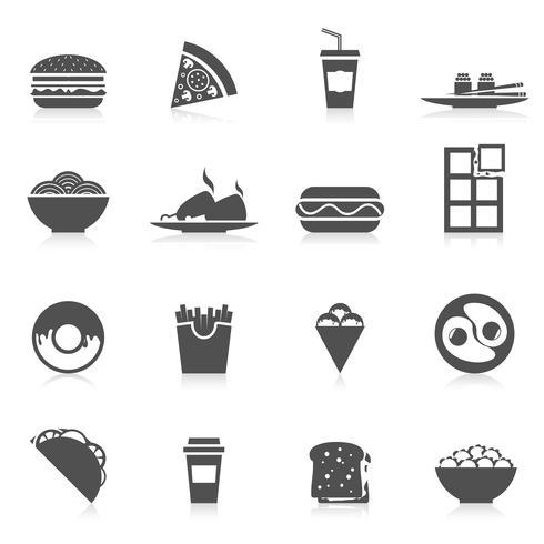 Comida rápida iconos negro