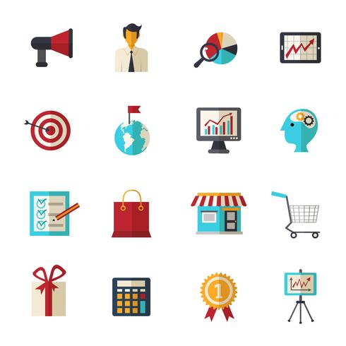 Conjunto de iconos planos de marketing vector