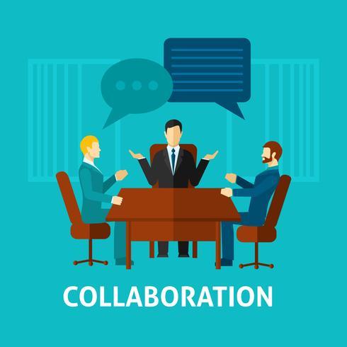 Ícone de colaboração plana vetor