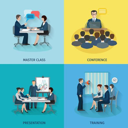Conference Flat Set vector