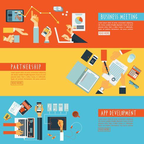 Hands concept teamwork flat banners set