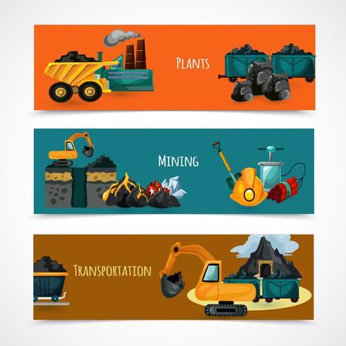Conjunto de Banners de minería vector