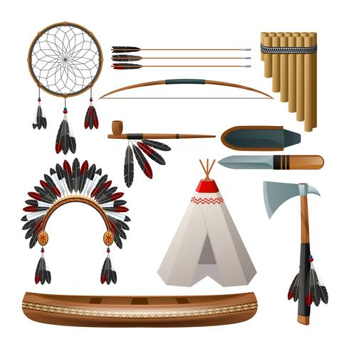 Conjunto indígena americano étnico vetor
