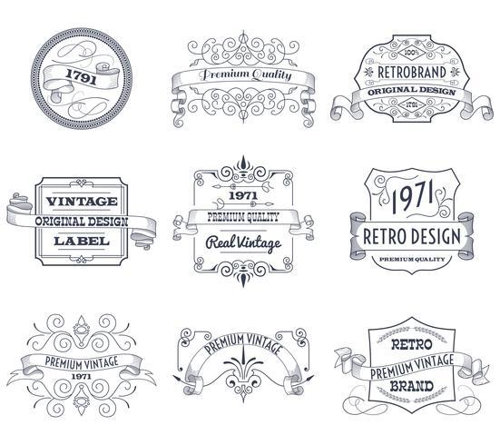 Ensemble d'étiquettes vintage vecteur